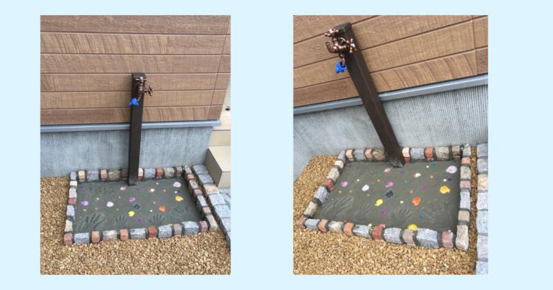 屋外水栓DIY完成。貝殻でデコレーション。