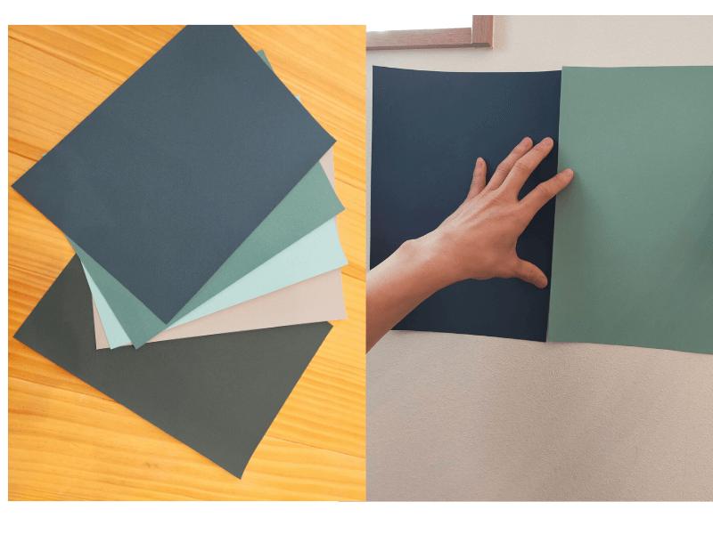 5種類(5色)ある黒板壁紙を壁に合わせている様子
