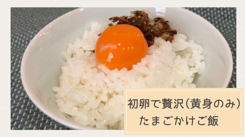 初卵で卵かけご飯、ご飯の上に黄身とかつお節がのっている