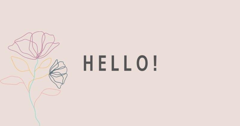 HELLO!薄ピンク背景に一輪の花