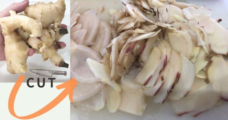 ginger,新生姜を切る